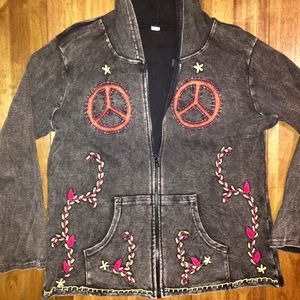 Jackets & Blazers - Peace Sign Floral Embroidered Black Jacket XL
